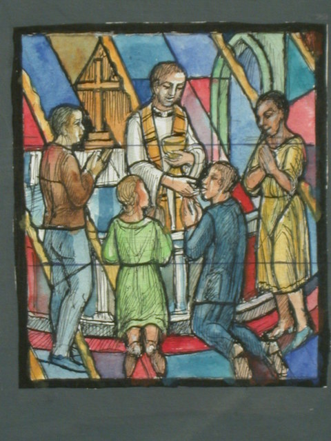 [Design drawing for stained glass window with Holy Communion showing four diverse modern worshipers receive the Eucharist amid rays of yellow light]