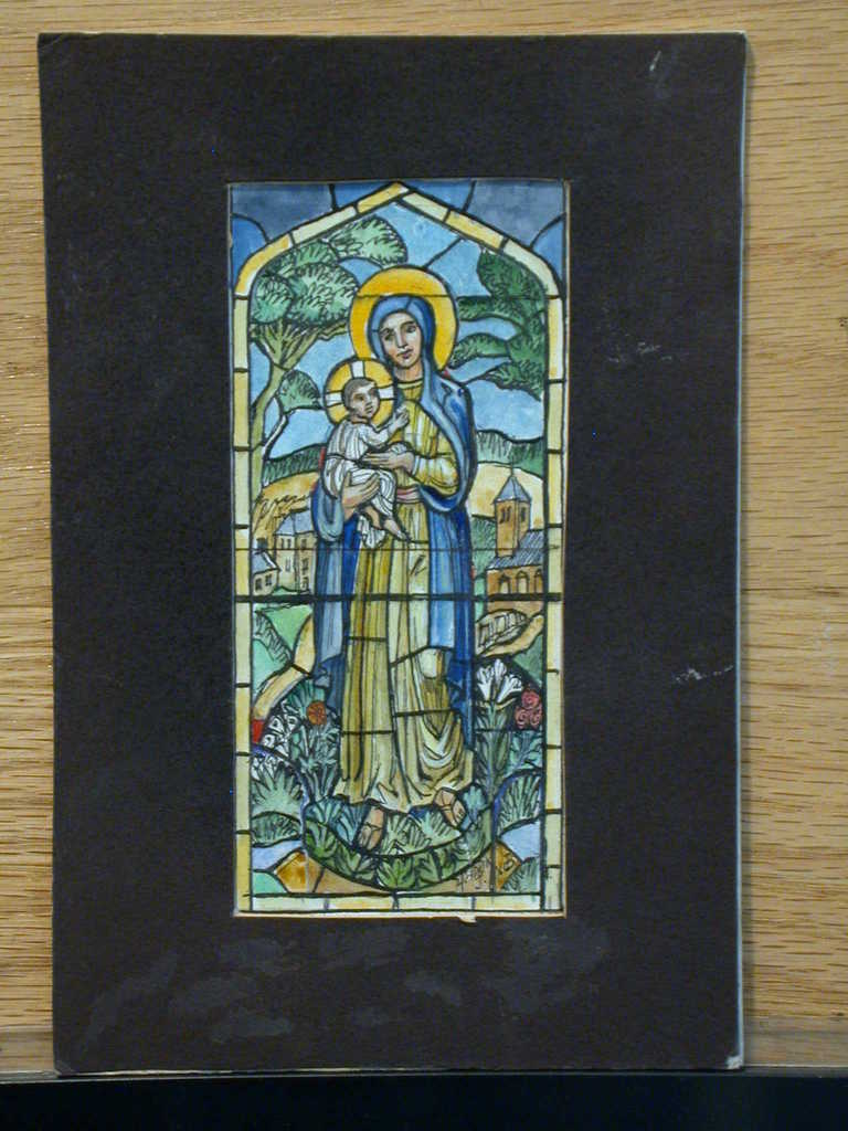 [Design drawing for stained glass window with Madonna and Child for St. Philip's Episcopal Church in Wrangell, Arkansas]