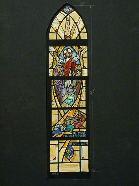 """[Design drawing for stained glass window with mandorla, Chiro, and star with text """"He Was Transfigured Before Them""""]"""