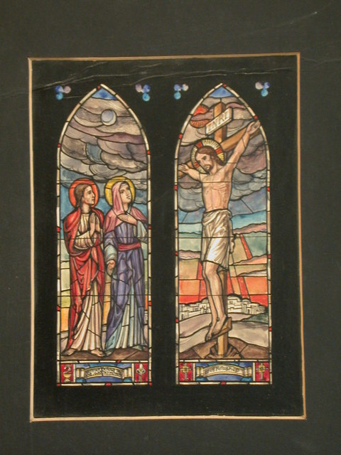 "[Design drawing for stained glass window with ""Mother, Behold Thy Son, Son Thy Mother"" and ""It is Finished"" showing the Crucifixion in two windows with moon, sun, city, symbols]"
