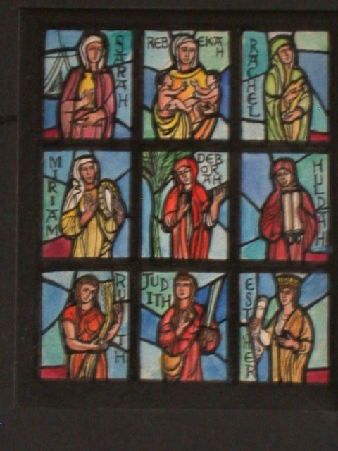 [Design drawing for stained glass window with nine female Biblical figures: Sarah, Rebekah, Rachel, Miriam, Deborah, Huldah, Ruth, Judith, and Esther]