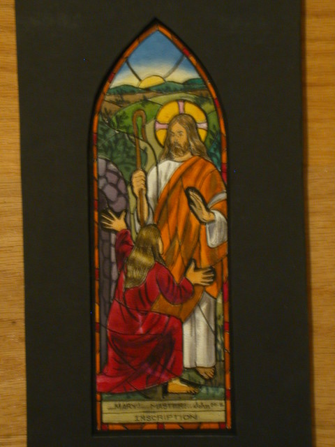 [Design drawing for stained glass window with Noli Me Tangere, John 20:16; large-scale red roses on verso]