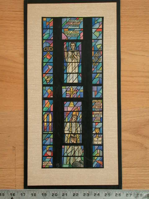 """[Design drawing for stained glass window with priests, sacraments, and symbols, with text """"Whose Sins Thou Dost Forgive, They Are Forgiven""""]"""