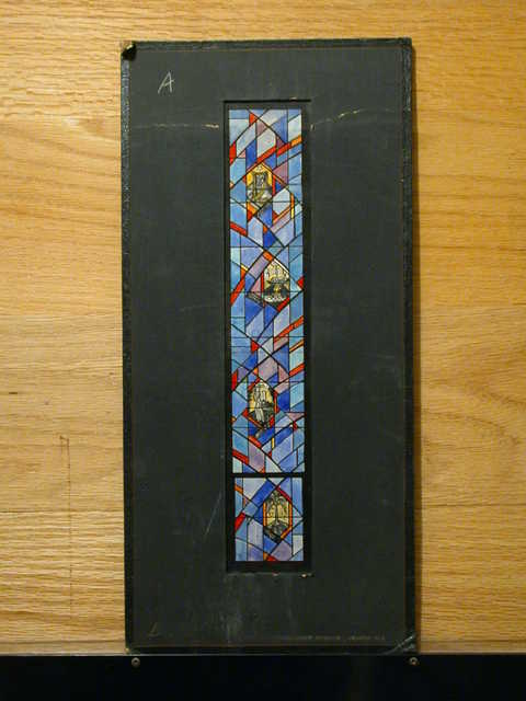 [Design drawing for stained glass window with Psalms, Noah, Moses, and Adam in a tall, narrow 2-light composition with symbols of Biblical forefathers]