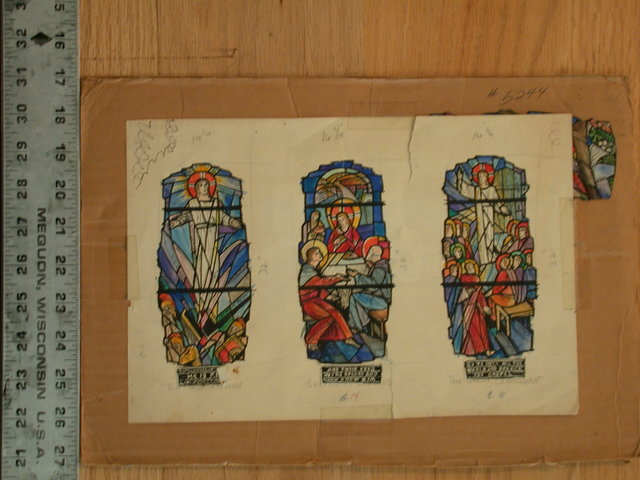 [Design drawing for stained glass window with Resurrection; Supper in Emmaus; Great Commission]