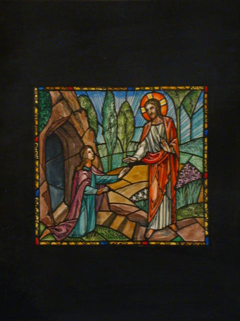 [Design drawing for stained glass window with Resurrection/Noli Me Tangere with lilies]