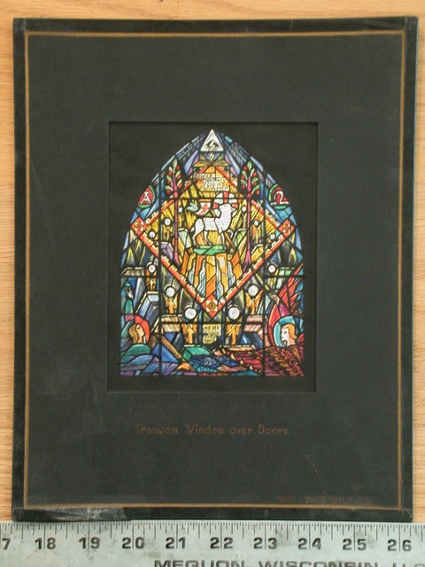 [Design drawing for stained glass window with Revelation (21st Chapter, Transom Window over Doors) and symbols]