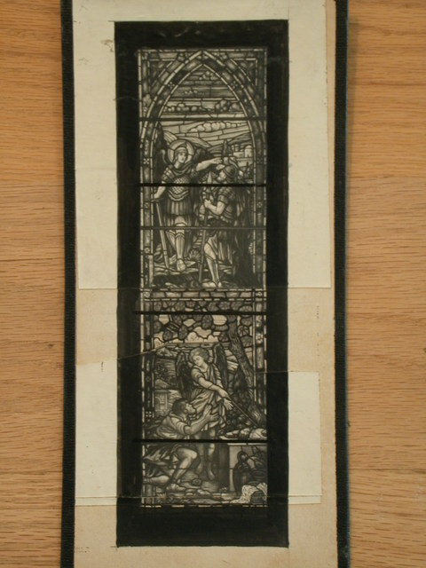 [Design drawing for stained glass window with Roman soldiers, angel, and architecture]