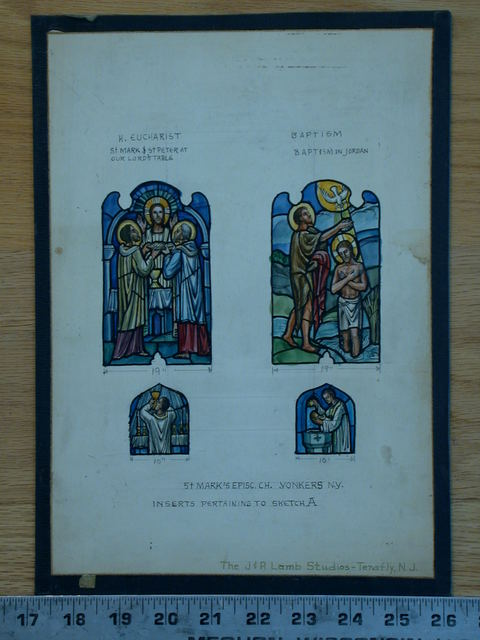 """[Design drawing for stained glass window with sacraments """"H. Eucharist"""" and """"Baptism"""" for St. Mark's Episcopal Church in Yonkers, New York]"""
