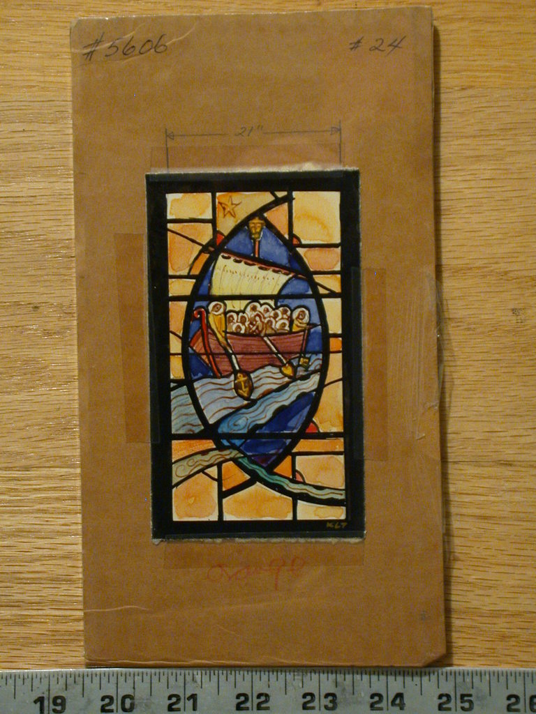 [Design drawing for stained glass window with Sail boat with haloed figures under star in mandorla frame; Fisher of Men?]
