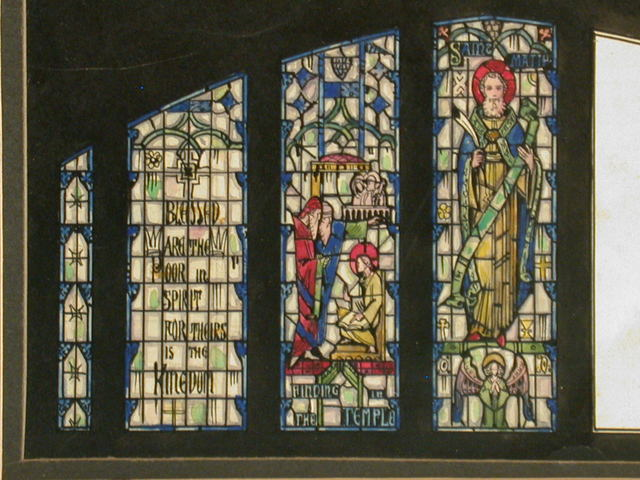 """[Design drawing for stained glass window with Saint Matthew and Gospel stories and text, and """"man"""" symbol]"""