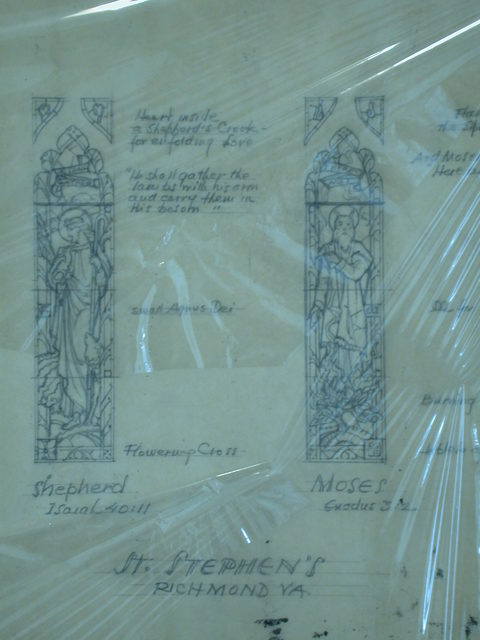 "[Design drawing for stained glass window with ""Shepherd, Isaiah 40:11"" and ""Moses, Exodus 3:2"" for St. Stephen's Church in Richmond, Virginia]"