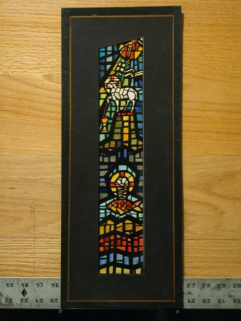 [Design drawing for stained glass window with slant-top light with Christian symbols, bold muntins, and cames]