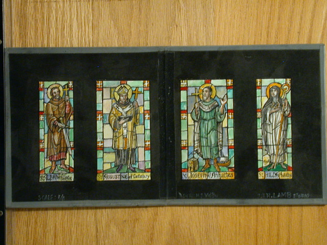 [Design drawing for stained glass window with St. Alban; St Augustine of Canterbury; St Joseph of Arimathea; and St Hilda of Whitby]