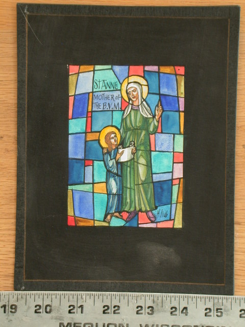 [Design drawing for stained glass window with St Anne, Mother of the Blessed Virgin Mary, and haloed child holding scroll]
