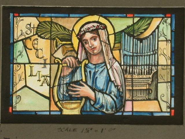 [Design drawing for stained glass window with St. Cecilia and harp, pipe organ, and trumpets]