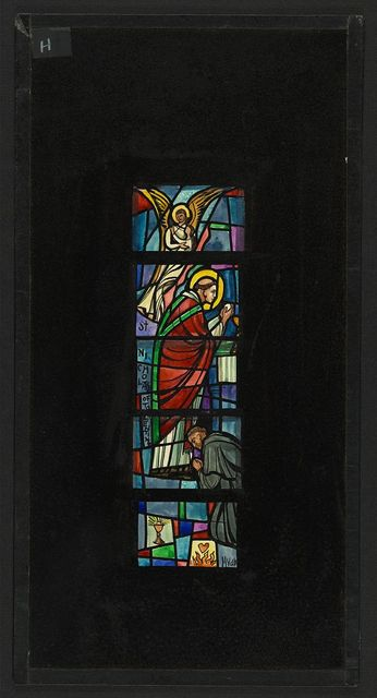 [Design drawing for stained glass window with St Nicholas of Tolentine]