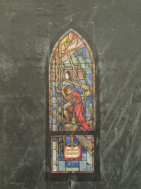 """[Design drawing for stained glass window with St. Paul, Spiritus Gladius, showing """"Saul"""" with sword and crenellated walls]"""