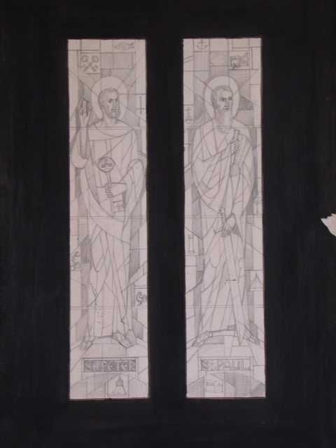 [Design drawing for stained glass window with St. Peter and St. Paul for St. Peter and St. Paul Church in Detroit, Michigan]