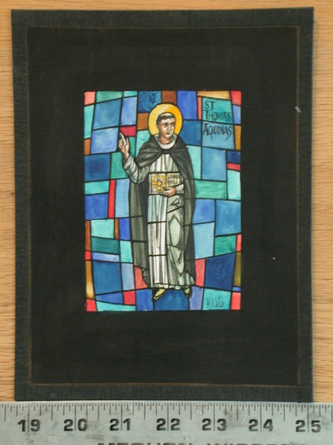 [Design drawing for stained glass window with St Thomas Aquinas, heavy-set, with his Summa Theolo]