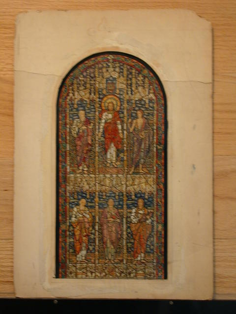 [Design drawing for stained glass window with statuesque Christ and saints posed in elaborate Gothic frame]