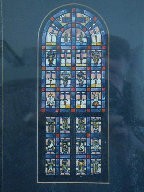 [Design drawing for stained glass window with symbols for The Passion, top: Agony, Crowning, Bearing the Cross, ?, Values, Bottom: Charity, Joy, Peace, Faith, Modesty, Knowledge, Restraint, Patience, Piety, Goodness, Virtue, and Kindness]