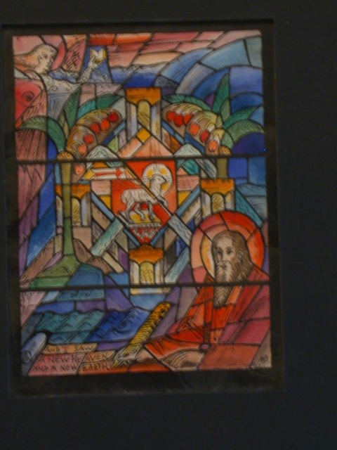 "[Design drawing for stained glass window with text ""And I Saw a New Heaven and a New Earth""]"