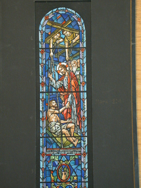"""[Design drawing for stained glass window with text """"... Arise and Take Up Thy Bed""""]"""