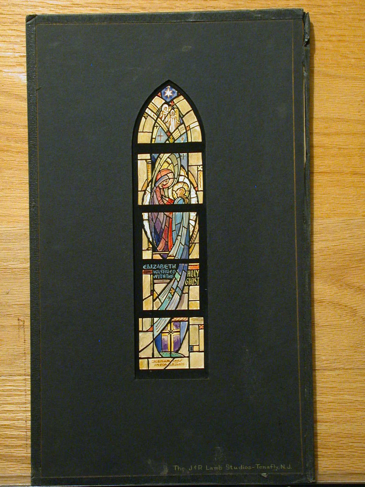 """[Design drawing for stained glass window with text """"Elizabeth was Filled with the Holy Ghost""""]"""