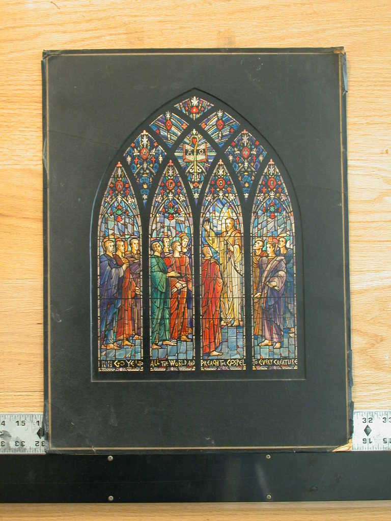 """[Design drawing for stained glass window with text """"Go Ye Into All The World ... """"]"""