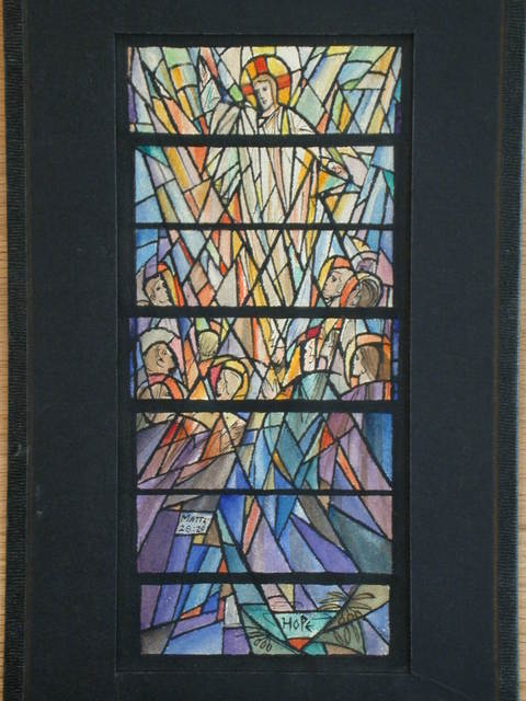 "[Design drawing for stained glass window with text ""Hope ... Matt 28:20""]"