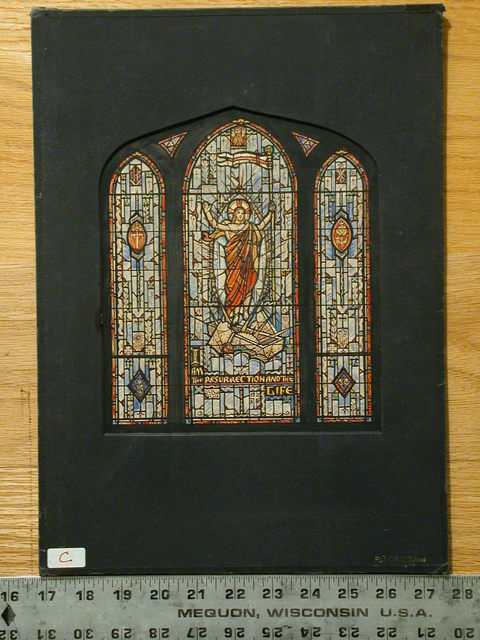 "[Design drawing for stained glass window with text ""I Am the Resurrection and the Life""]"