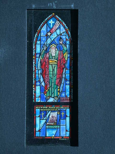 """[Design drawing for stained glass window with text """"Isaiah: His Name Shall Be Called Wonderful""""]"""