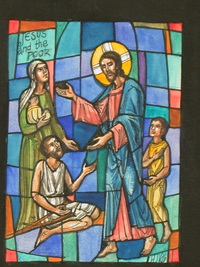 """[Design drawing for stained glass window with text """"Jesus and the Poor"""" and a crutch]"""