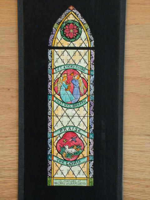 """[Design drawing for stained glass window with text """"Let Everything that has Breath Praise the Lord ... in Memory of Craig Wilbur Miller 1954-1973""""]"""