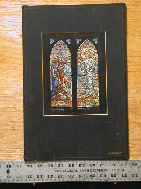 """[Design drawing for stained glass window with text """"Lord, It Is Good For Us To Be Here""""]"""