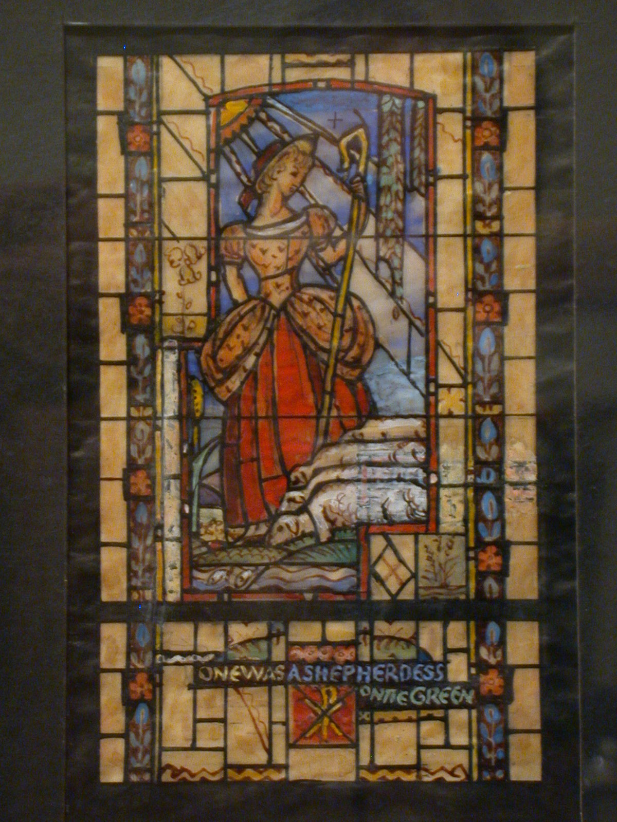 """[Design drawing for stained glass window with text """"One Was A Shepherdess on the Green""""]"""
