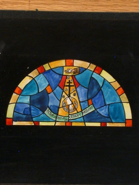 """[Design drawing for stained glass window with text """"Patron Saint of the Catholic Missions""""]"""