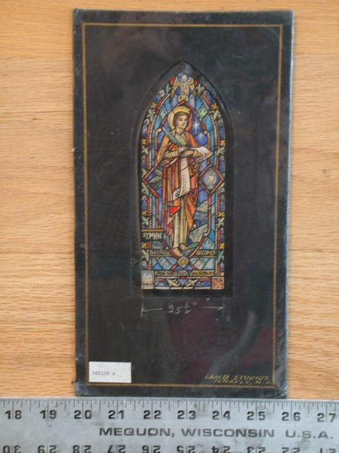"[Design drawing for stained glass window with text ""St. John the Beloved Diciple"" [sic]"