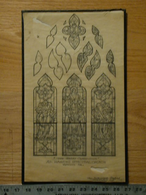 """[Design drawing for stained glass window with text """"The Great Commission"""" for All Hallows Episcopal Church in Wyncote, Pennsylvania]"""
