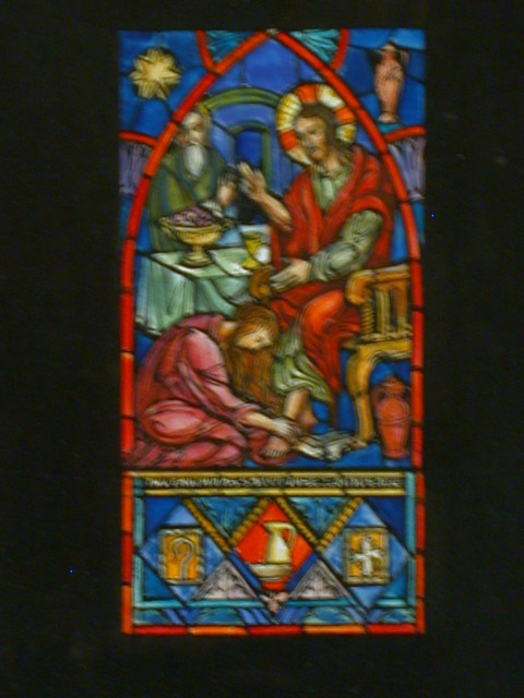 "[Design drawing for stained glass window with text ""Thy Faith has Saved thee. Go in Peace"" showing Mary Magdalene washing Christ's feet]"