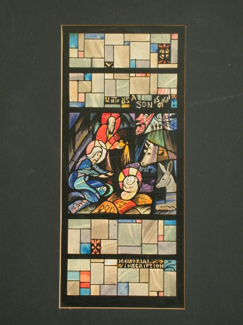 """[Design drawing for stained glass window with text """"Unto Us A Son Is Given"""" and rounded, abstracted Nativity with grids]"""