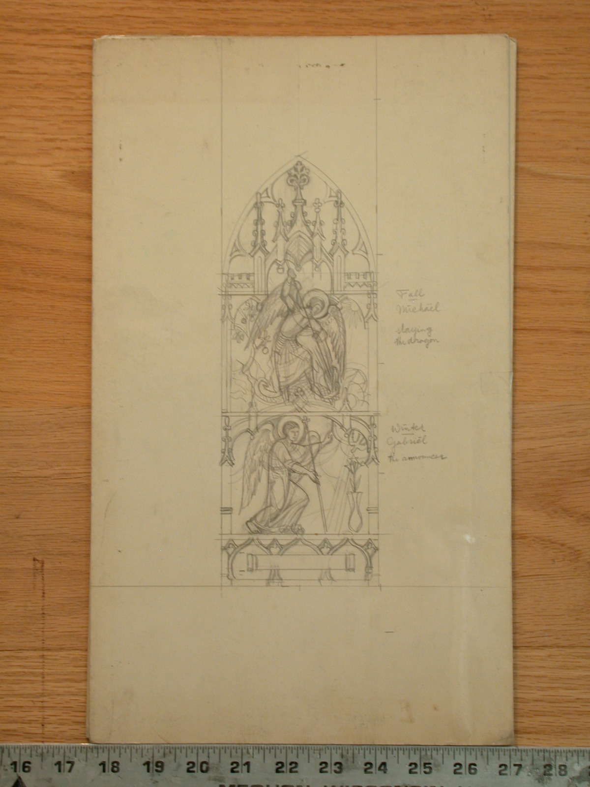 [Design drawing for stained glass window with the Fall; Michael Slaying the Dragon, Winter; and Gabriel the Announcer in a Gothic spire frame]