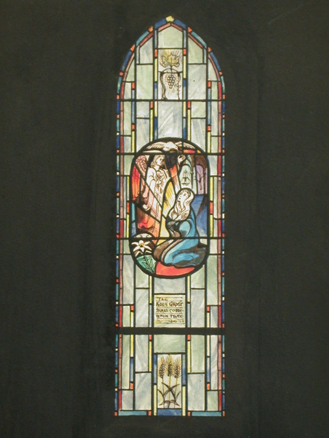 """[Design drawing for stained glass window with """"The Holy Ghost Shall Come Upon Thee"""" and the annunciation with lily, dove, and sheaves of grain]"""