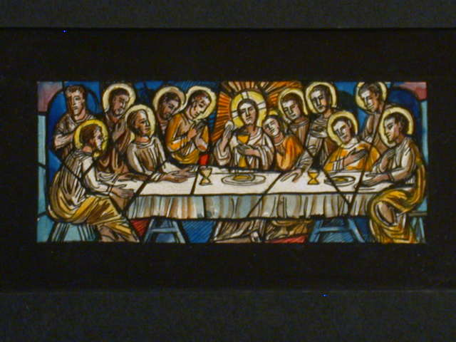 [Design drawing for stained glass window with the Last Supper]