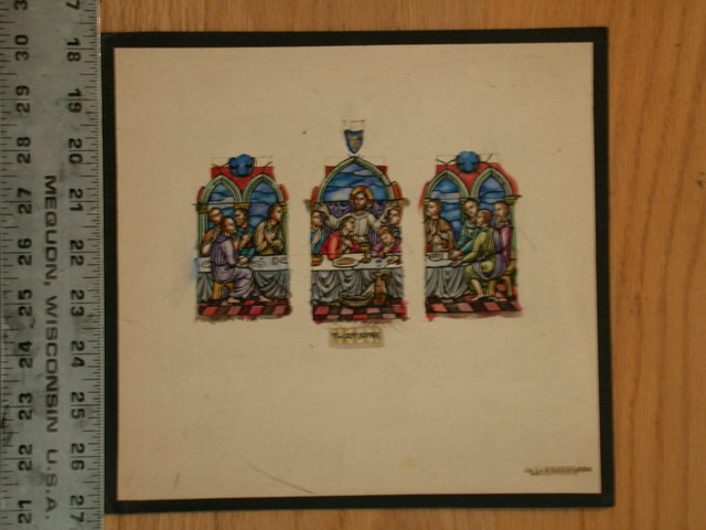 [Design drawing for stained glass window with The Last Supper in thee sections/windows? and Judas? in blue holding a money bag]