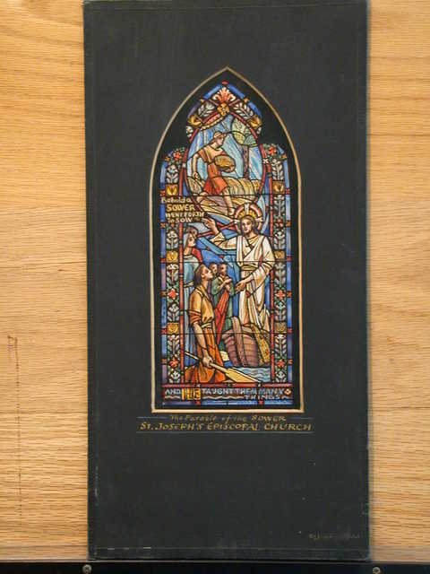 [Design drawing for stained glass window with The Parable of the Sower showing Christ in ship gesticulating to listeners with image above and behind Him of man with grain illustrating words evoked for St. Joseph's Episcopal Church]