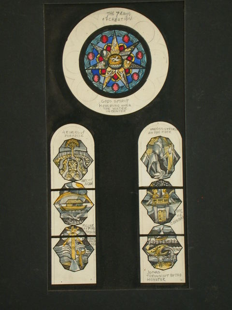 [Design drawing for stained glass window with themes from Old Testament]