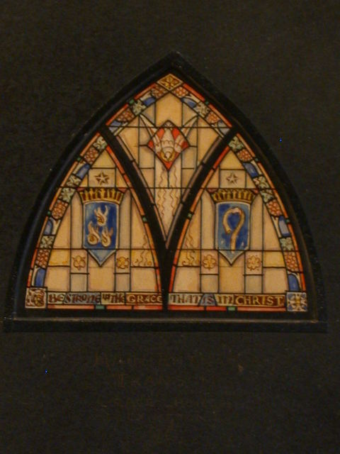 """[Design drawing for stained glass window with Trinity and text """"Be Strong in the Grace that is in Christ"""" for main entrance transom for Grace Church in Lexington, North Carolina]"""