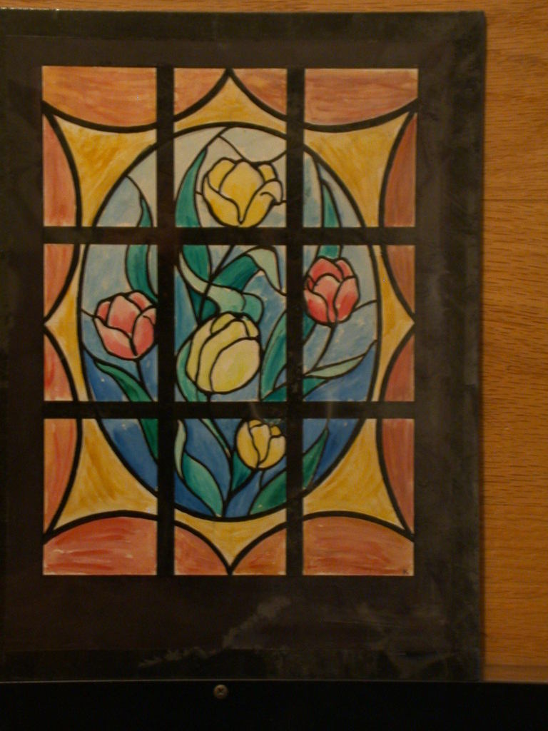 [Design drawing for stained glass window with tulips]
